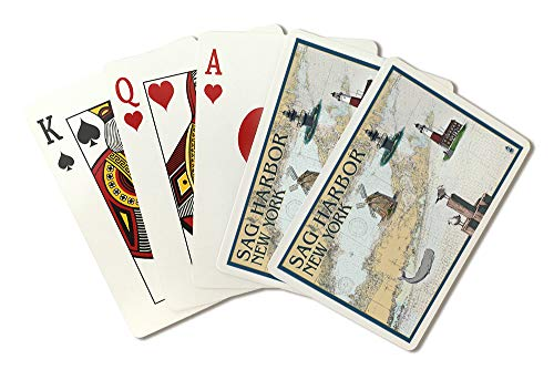 Sag Harbor, New York - Nautical Chart with Windmill 97918 (Playing Card Deck - 52 Card Poker Size with Jokers)