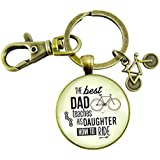 The Best Dad Teaches His Daughter How to Ride Cyclist Keychain to Father From Daughter Key Ring Bicycle Charm