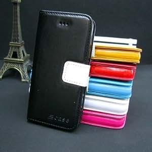 Flip Credit ID Card Holder Wallet Leather Case For iPhone 5 --- Color:Black