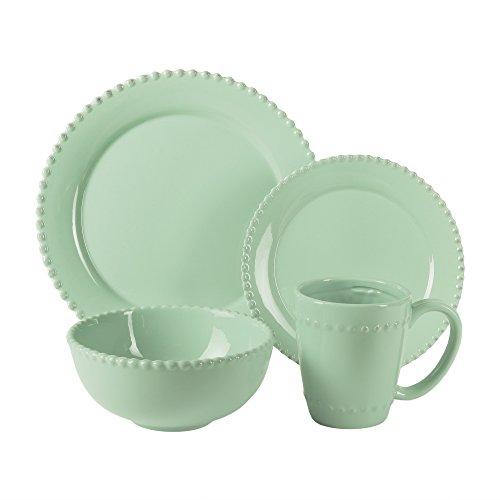 American Atelier 16 Piece Bianca Bead Round Dinnerware Set, Jade