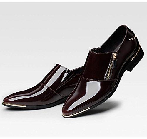 D'Affaires Cuir Chaussures LEDLFIE Mode en WineRed Shoes Men's Pointues Robe Véritable Cuir Hommes en WW8g1PBZn
