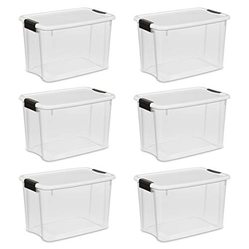 Sterilite 19859806, 30 Quart/28 Liter Ultra Latch Box, Clear with a White Lid and Black Latches, 6-Pack (Renewed)