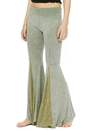 T Party Women's Bell Bottom Lace Mermaid Leg Foldover Waist Yoga Pants (Small, Sage Green)