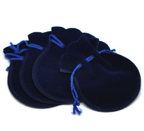 PEPPERLONELY Brand 20PC Dark Blue Velvet Drawstring Pouches Jewelry Gift Bags 9x7.5cm (3-1/2 x 3 Inch)