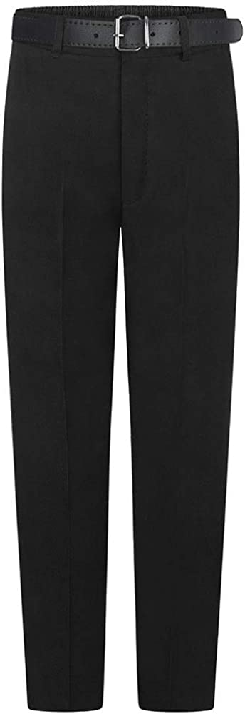 UK Made Boys Half Elasticated Waist School Uniform Trouser With Zip /& Clip Fastening Teflon-Coated