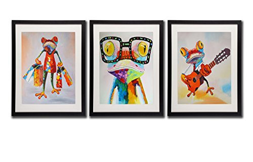 Art Mr.& Mrs.Frog Happy Frog Wall Art Decor Posters Printed On Canvas Glass Frog Frame Cartoon Animal Pictures Music Guitar Shopping Artwork For Home Decoration 3 Piece Painting Prints Room Decorate