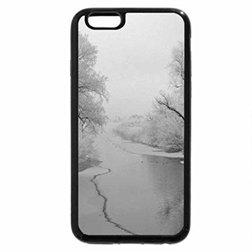 iPhone 6S Plus Case, iPhone 6 Plus Case (Black & White) - River-In-Winter