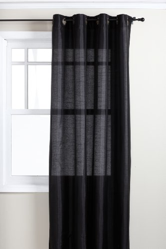 Stylemaster Tribeca 56 by 120-Inch Faux Silk Grommet Panel, Onyx