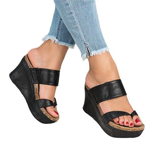 Maybest Womens Sandals Platform Wedge Heels Casual Slip On Roman Sandals Boho Beach Retro Fashion Shoes Slipper Summer Black US (Black Retro Wedge Sandals)