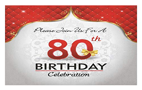 Ambesonne 80th Birthday Doormat, Birthday Party Invitation with