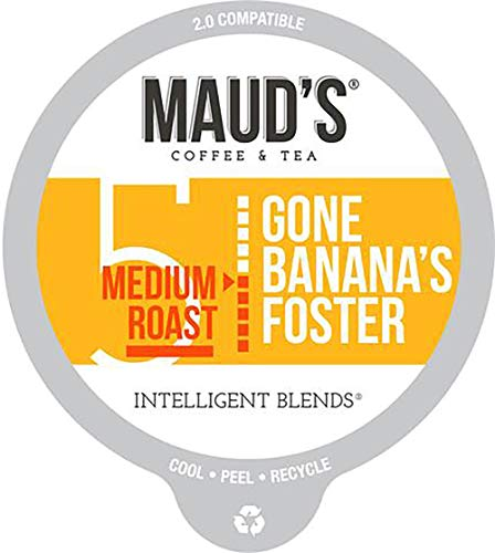 Maud's Banana Flavored Coffee (Gone Banana's Foster), 60ct. Recyclable Single Serve Coffee Pods - Richly Satisfying Arabica Beans California Roasted, K-Cup Compatible Including 2.0 Bananas Foster Ice Cream