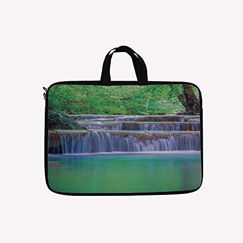 3D Printed Double Zipper Laptop Bag,Waterfalls Pours Into Crystal Clear Lake Exotic,13 inch Canvas Waterproof Laptop Shoulder Bag Compatible with11.12.6