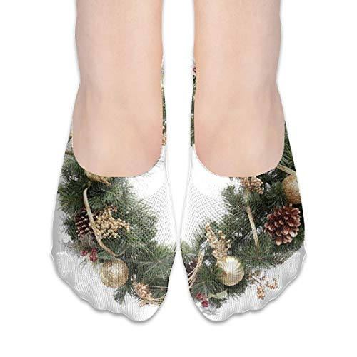 No Show Socks Cute Christmas Wreath Amazing Womens Low Cut Sock Boat Invisible Socks For Girl