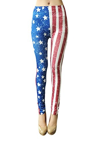 Zando Women Print Stretch Casual Aztec Pattern Full Length Leggings Jogger Pants American Flag Print1