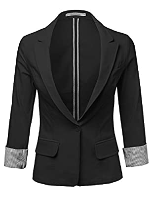 MBE Women's Classic Basic Stretchy Rolled Up Sleeve Blazer