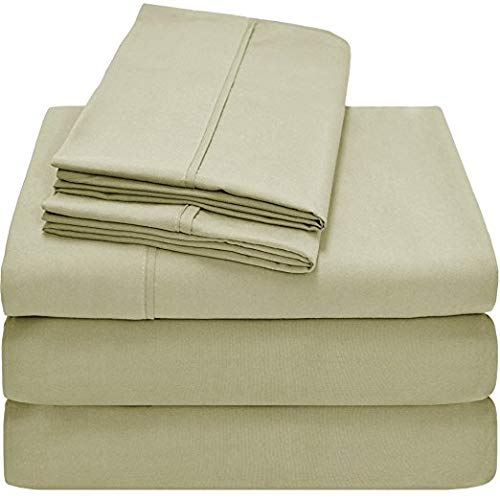 Split King Royal Collection 1900 Egyptian Cotton Bamboo Quality Super Soft Bed Sheet Set with 2 Twin XL Fitted, 1 King Flat and 2 King Pillow Case.Wrinkle Free Shrinkage Free (Split King, Sage Green)