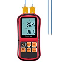 Proster Digital Thermocouple Thermometer Dual Channel Temperature Meter Tester with Two K-type Thermocouple Probe Sensor and LCD Backlight for K/J/T/E/R/S/N Type
