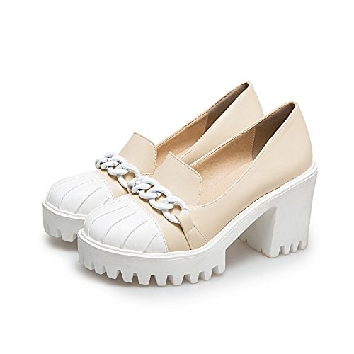 Allhqfashion Mujer-round-toe High-heels Pu Solid-pull-on Bombas-zapatos Beige