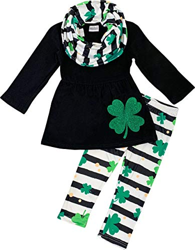 Amor Bee Little Girls St. Patricks Day Shamrock Lucky Clover 3pc Outfit Set - Top, Pants & Scarf