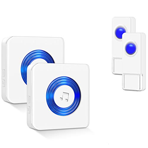 Coolqiya Wireless Doorbells Chimes Kit for Home with 2 Remote Door Bell Buttons Waterproof and 2 Plug in Receivers, No Battery Required for Receiver 52 Ringtones, White