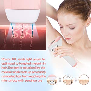 FDA Cleared Vasrou Permanent Painless Hair Removal for Women and Men,Profession IPL Laser Hair Remover for Facial,Bikini Line,Whole Body, Use at Home