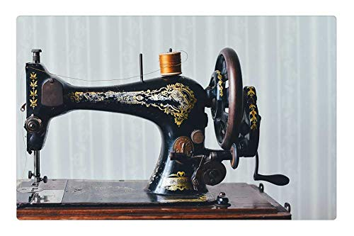 Tree26 Indoor Floor Rug/Mat (23.6 x 15.7 Inch) - Antique Home Old Retro Sewing Machine Vintage from Tree26