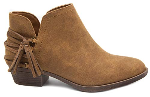 Ankle with Strappy Bootie Block Tassels Cognac Boot Sugar Trusted Heel Ladies Women's qSfIwf