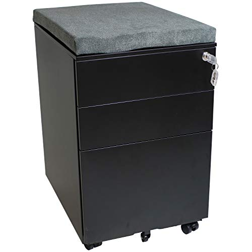CASL Brands Rolling Mobile File Cabinet with Lock & Cushion Seat, Small Steel 3-Drawer Filing Storage System, Black with Gray Cushion