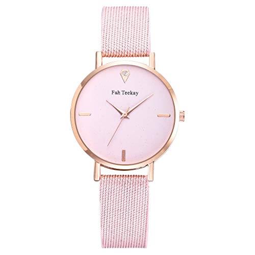 Women Watch Starry Four Scale Dial Diamond Decoration Woven Bands Analog Quartz Wristwatch (Pink)