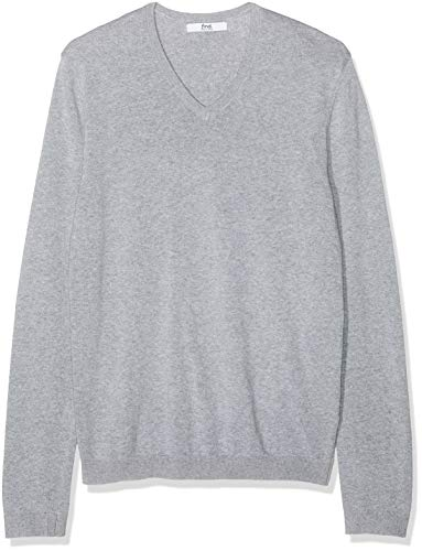 find. Men's Cotton V-Neck Sweater, (Light Grey Marl), ()