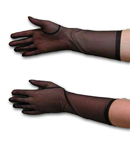 Sheer Elbow Length Gloves, Black (Gloves Nylon Sheer Black)