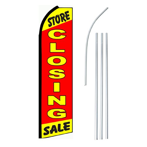 """NEOPlex – """"Store Closing Sale"""" – Floppy Flappy Flutter Flag and Pole Set – Includes 12-foot NEOPlex Feather Flag with 15-foot Aluminum Pole (no mount) For Sale"""