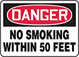 Accuform Signs 10'' X 14'' Black, Red And White 0.040'' Aluminum Smoking Control Sign''DANGER NO SMOKING WITHIN 50 FEET'' With Round Corner