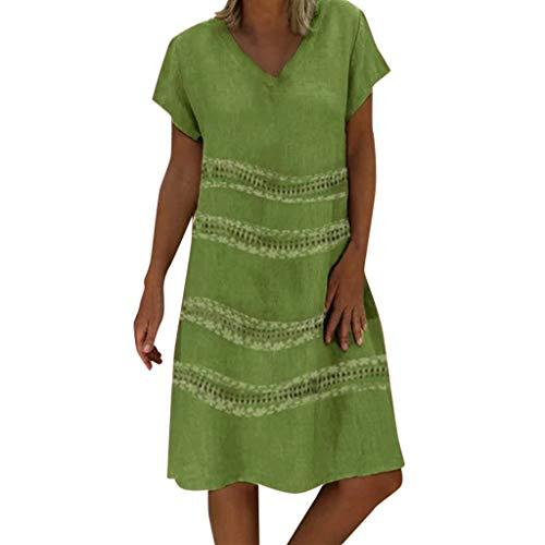 FEDULK Summer Dress for Women Fashion Boho V Neck Short Sleeve Plain Beach Sundress Holiday Dresses(Green, Small)