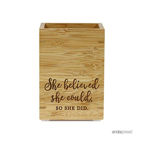 Andaz Press Engraved Office Pen Stand Holder Gift, She Believed She Could So She Did, 1-Pack, Bamboo Wooden Girls Birthday Gifts