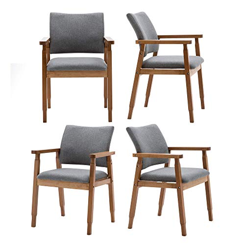 Set of 4 Mid Century Modern Walnut Dining Chairs Wood Arm Grey Fabric Kitchen Cafe Living Room Decor Furniture