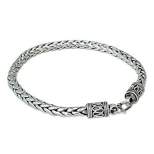 """NOVICA Men's .925 Sterling Silver Handmade Chain Bracelet, 8.75"""" 'Strength'"""