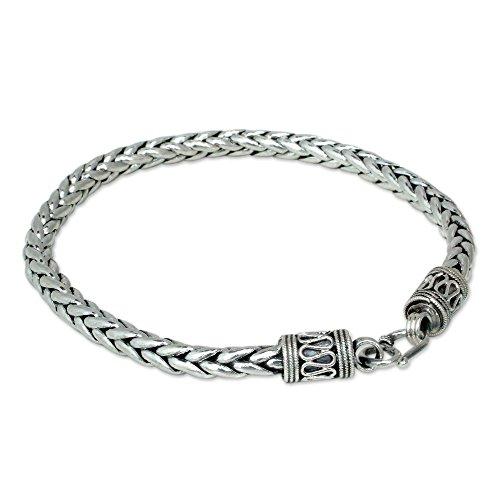 Sterling Silver Artisan Link Bracelet (NOVICA Men's .925 Sterling Silver Handmade Chain Bracelet, 8.75