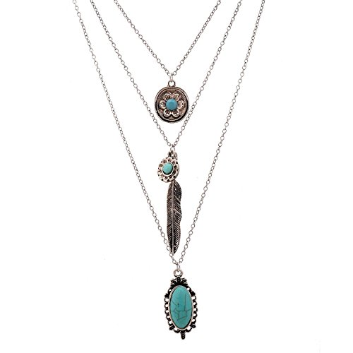 LUREME Vintage Multi Layered Chain Turquoise Stone Flower Metal Feather Pendant Necklace (01003373) (Antique Silver)