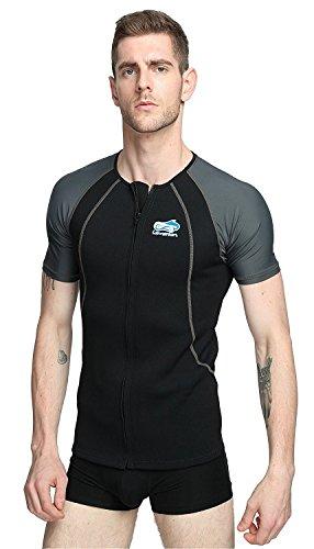Lemorecn Wetsuits 1.5mm Neoprene Rash Guard for Men and Women Scuba Diving Short Sleeve Shirt(2067blackgrey-M)