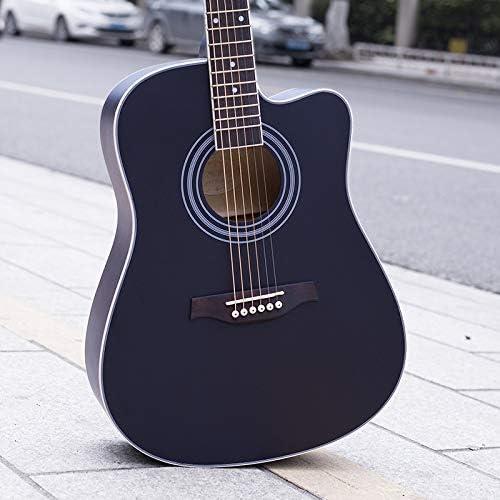 HVTKLN 41インチのシナ初心者アコースティックギターギターギター欠落している角度マットブラックピアノの練習 HVTKLN (Color : Dumb Black, Size : 41 inch)