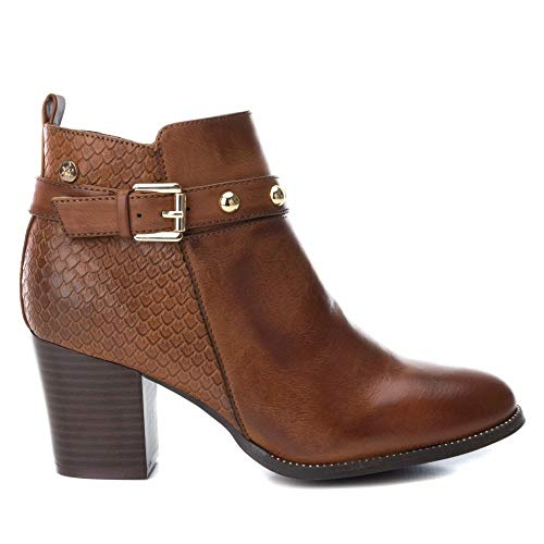 XTI Womens 48399 Block Heeled Ankle Boots Camel