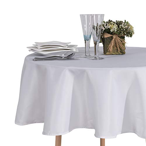 SARAFLORA Round Table Cloth - Washable Water Resistance Microfiber Tablecloth Decorative Table Covers for Picnic Banquet Party Kitchen Dining Room, 100% Polyester, 150 GSM (60 inches, White)