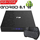 EASYTONE Android 8.1 TV Box with 4GB RAM 32GB ROM, 2018 New Android Boxes Quad Core/ 64 Bits/ BT4.0/ H.265/ 3D UHD 4K Full Loaded Smart Media Player with Backlit Mini Wireless Keyboard