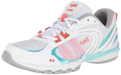 Ryka Women's Flextra Cross-Training Shoe, White/Aqua Sky/Coral Reef, 7 M (Ryka Aqua)