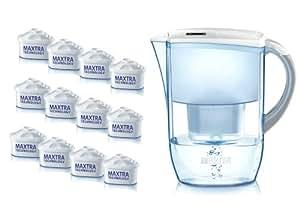 BRITA Fjord Cool White Water - Jarra purificadora de agua (incluye 12 filtros)