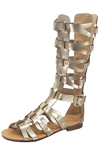 Atta 07K Little Girls Strappy Gladiator Comfort Flat Sandals Gold 9 (Girls Gladiator Sandals)