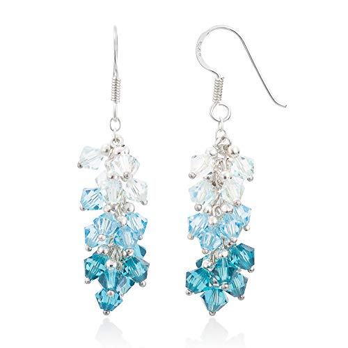 925 Sterling Silver Blue Faceted Swarovski Crystal Beads Dangle Hook Earrings