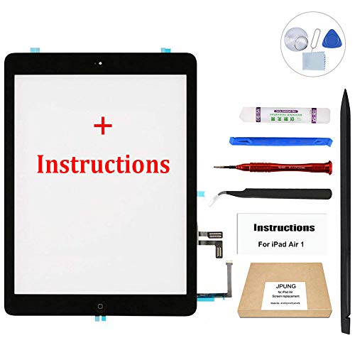 JPUNG Screen Replacement for iPad Air/iPad 5th Generation (Black), with Home Button, Complete Repair Tools Kit, Camera Holder, Pre-Installed Adhesive Stickers, Instructions [365 Days Warranty]