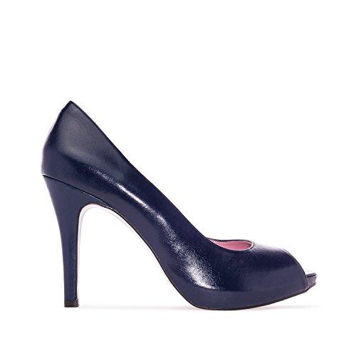 Andres Machado.valeria.peep-toes In Pelle.made In Spain.womens Petite & Large Szs: Da 2 A 5 -us 10,5 A 13 / Eu 32 A 35 -eu 42 A 45 In Pelle Blu